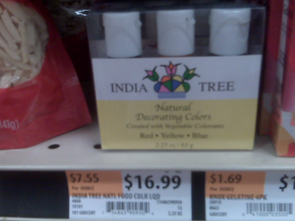 India Tree food dyes at Whole Foods