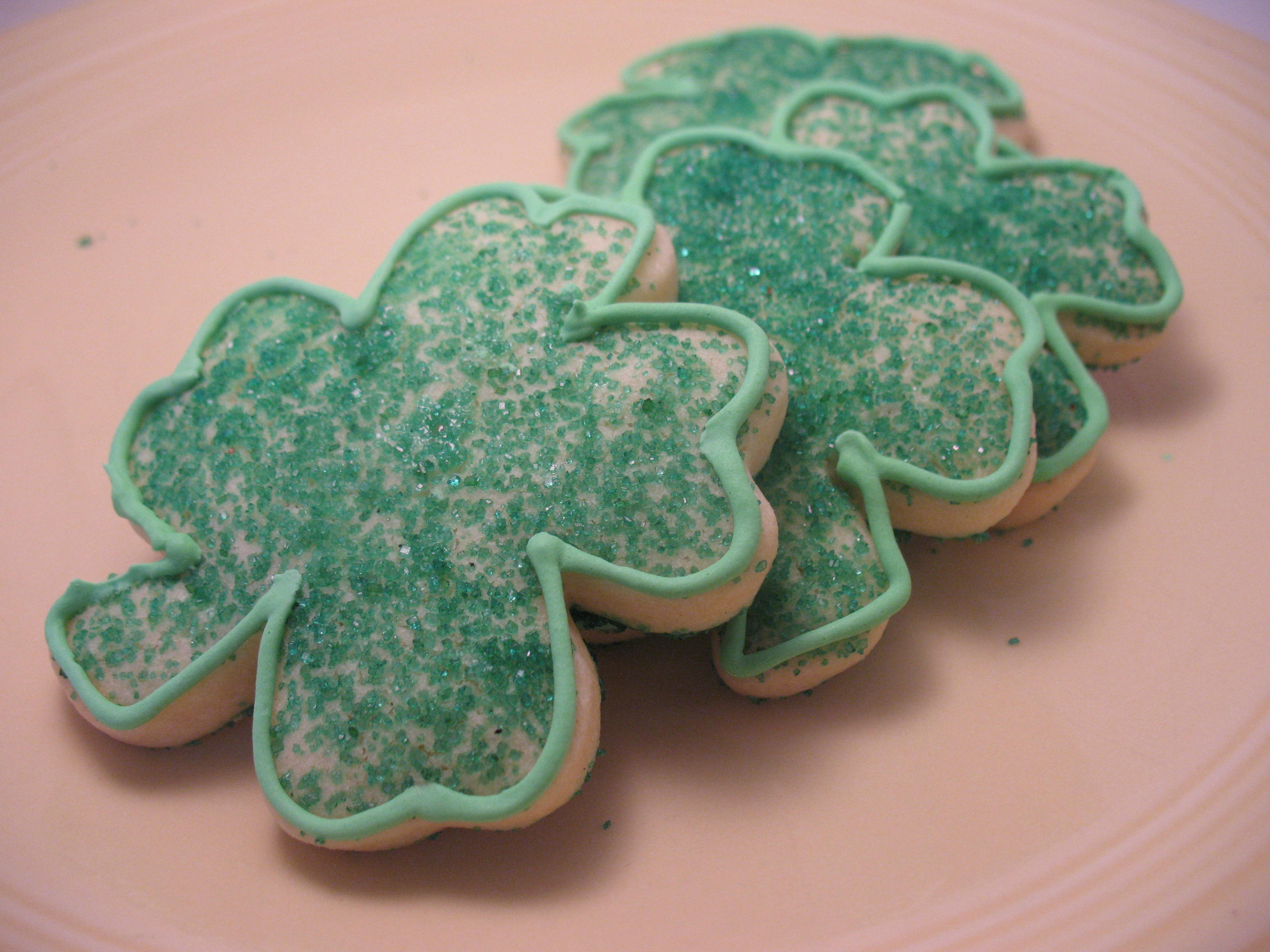 Sugar cut-out cookies for St. Patrick's Day